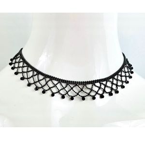 Delicate Black Crystal Lacy Choker Necklace